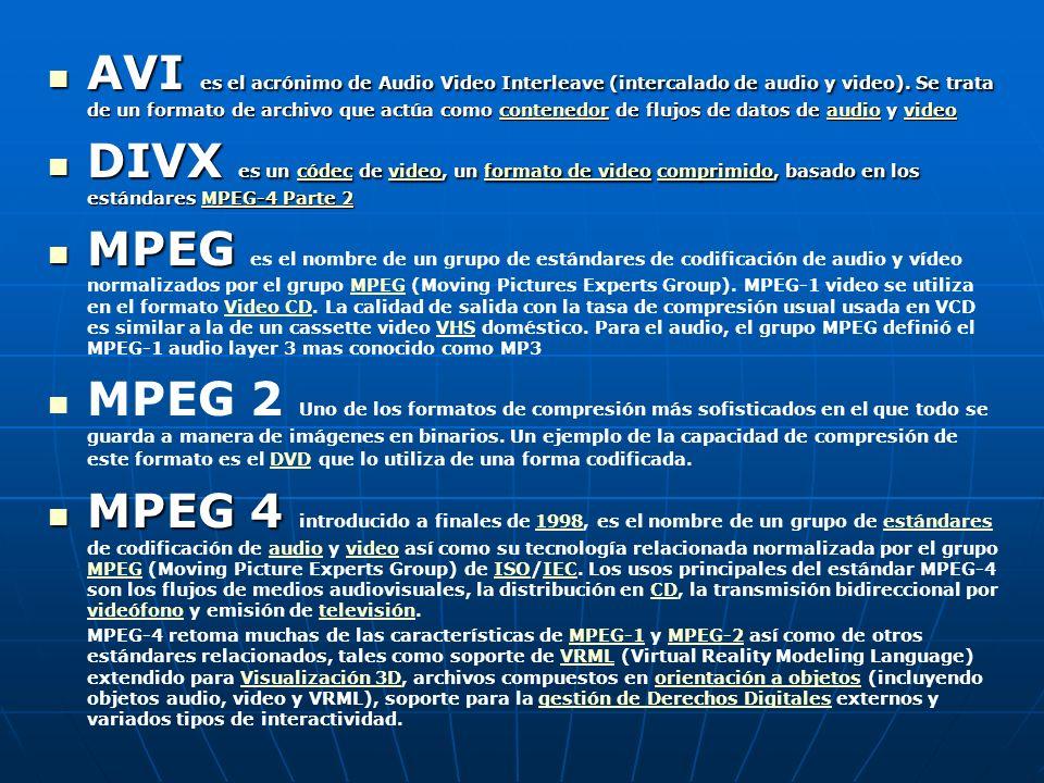 AVI es el acrónimo de Audio Video Interleave (intercalado de audio y video). Se trata de un formato de archivo que actúa como contenedor de flujos de datos de audio y video