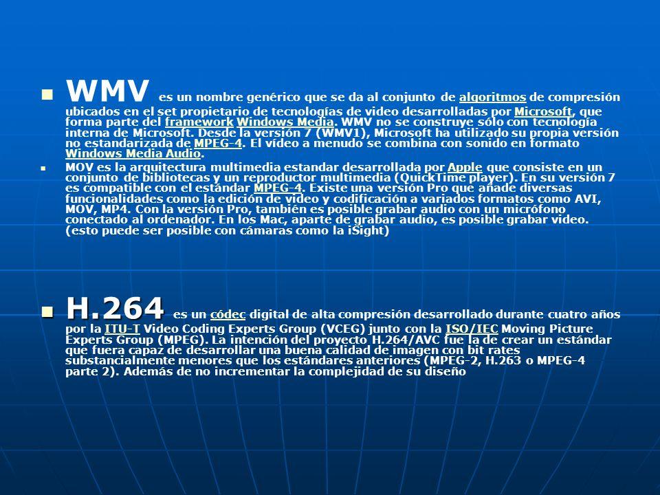 WMV es un nombre genérico que se da al conjunto de algoritmos de compresión ubicados en el set propietario de tecnologías de video desarrolladas por Microsoft, que forma parte del framework Windows Media. WMV no se construye sólo con tecnología interna de Microsoft. Desde la versión 7 (WMV1), Microsoft ha utilizado su propia versión no estandarizada de MPEG-4. El vídeo a menudo se combina con sonido en formato Windows Media Audio.