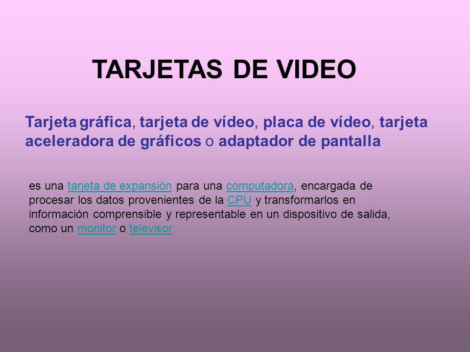 TARJETAS DE VIDEO Tarjeta gráfica, tarjeta de vídeo, placa de vídeo, tarjeta aceleradora de gráficos o adaptador de pantalla.
