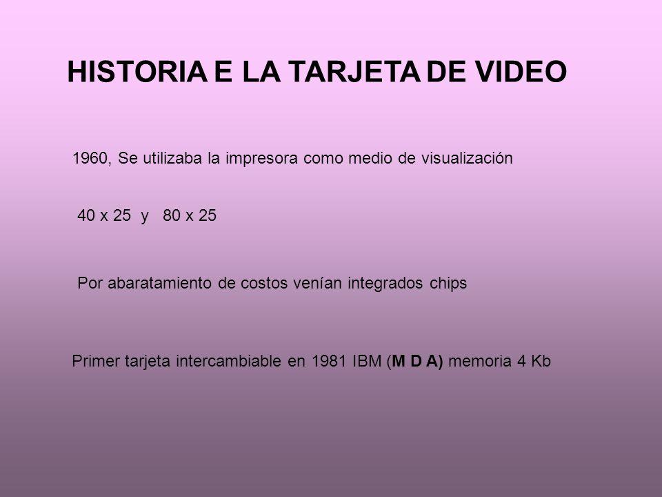 HISTORIA E LA TARJETA DE VIDEO