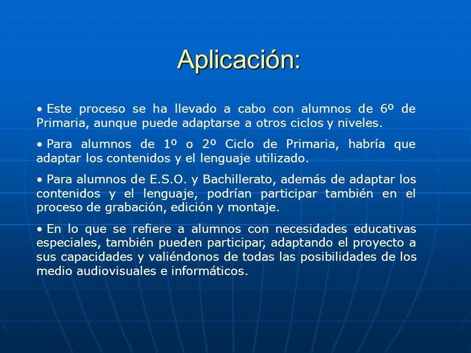 Aplicación: Este proceso se ha llevado a cabo con alumnos de 6º de Primaria, aunque puede adaptarse a otros ciclos y niveles.