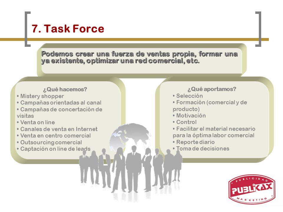 7. Task Force Podemos crear una fuerza de ventas propia, formar una ya existente, optimizar una red comercial, etc.