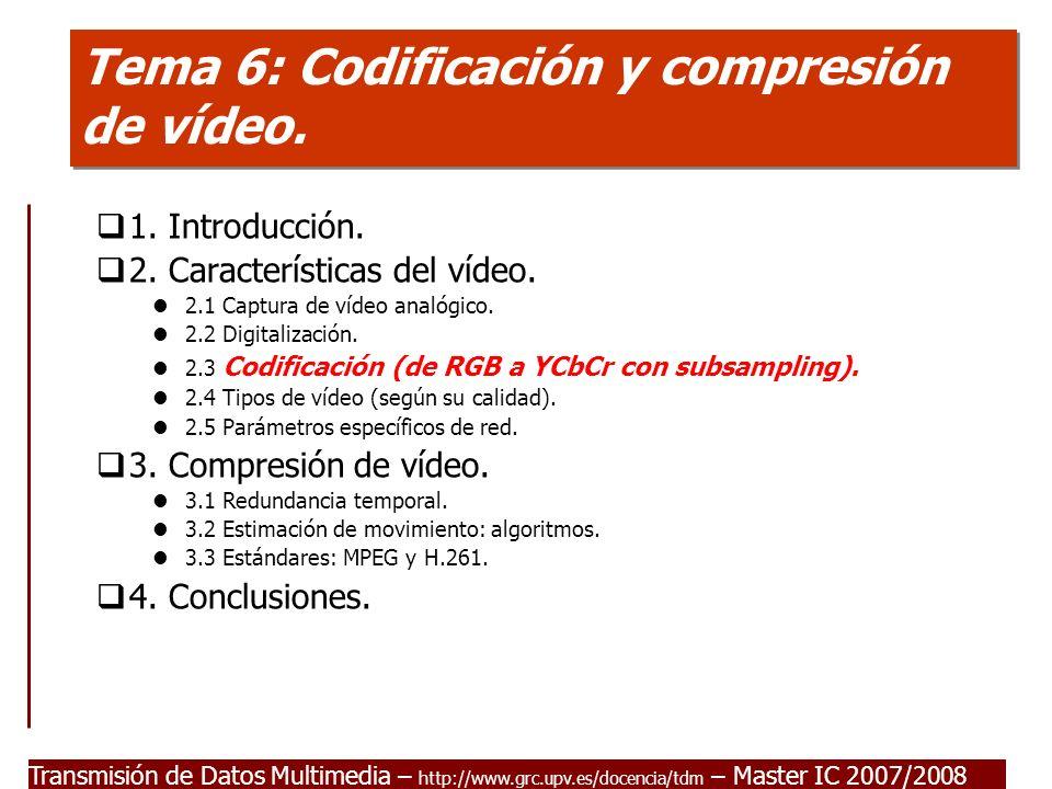 Tema 6: Codificación y compresión de vídeo.