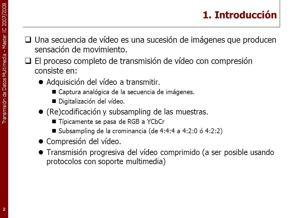 Redes Avanzadas 1. Introducción. Una secuencia de vídeo es una sucesión de imágenes que producen sensación de movimiento.