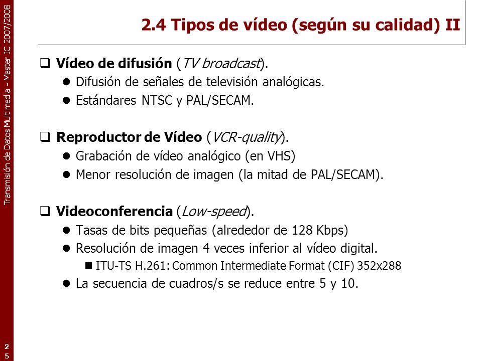 2.4 Tipos de vídeo (según su calidad) II