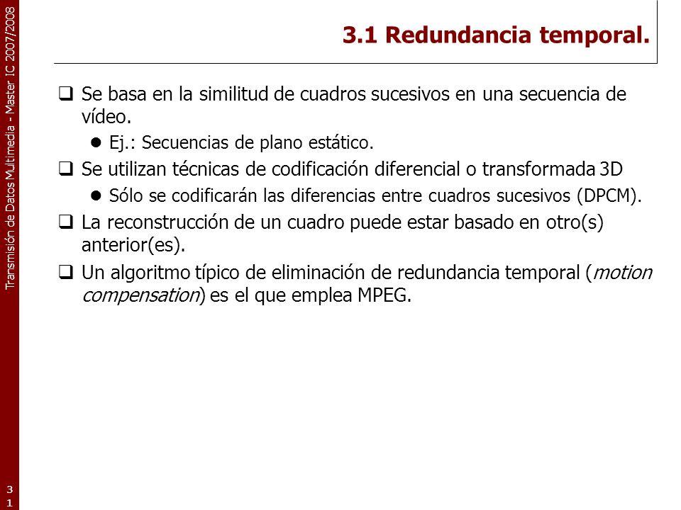 3.1 Redundancia temporal. Se basa en la similitud de cuadros sucesivos en una secuencia de vídeo. Ej.: Secuencias de plano estático.