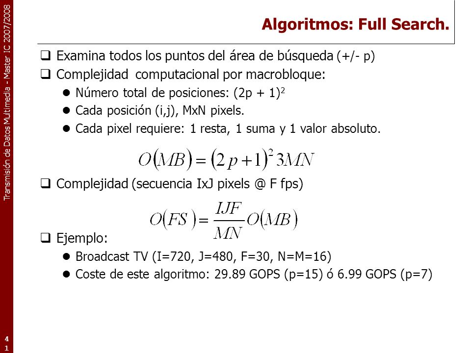 Algoritmos: Full Search.