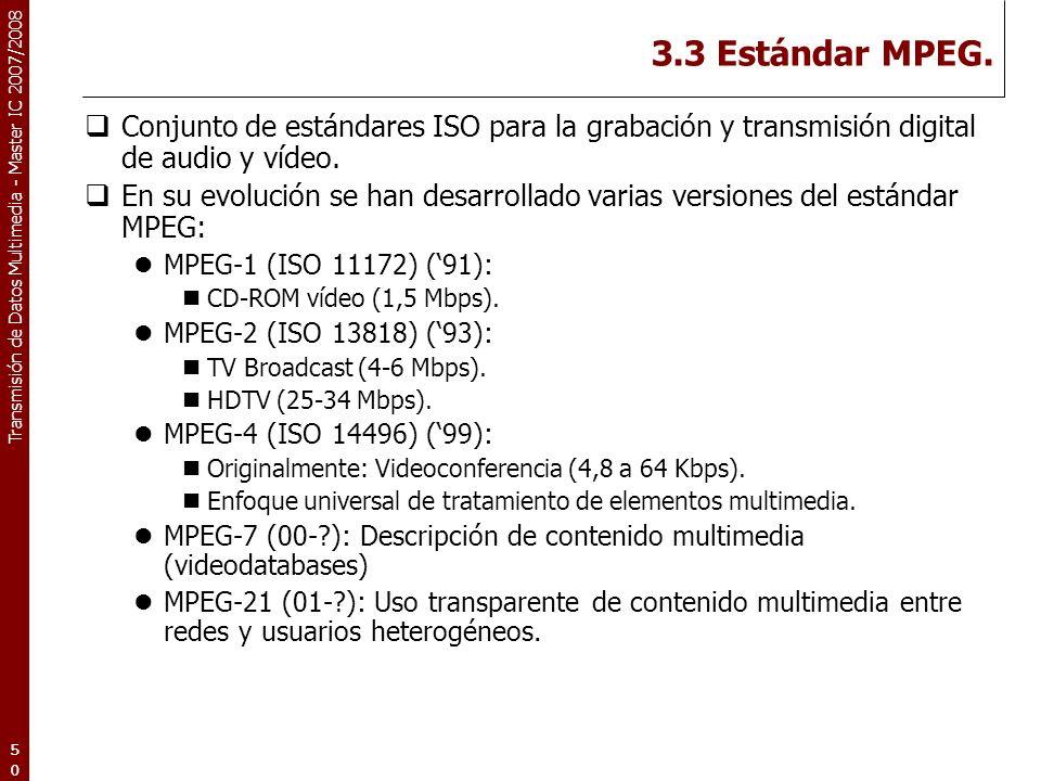 3.3 Estándar MPEG. Conjunto de estándares ISO para la grabación y transmisión digital de audio y vídeo.