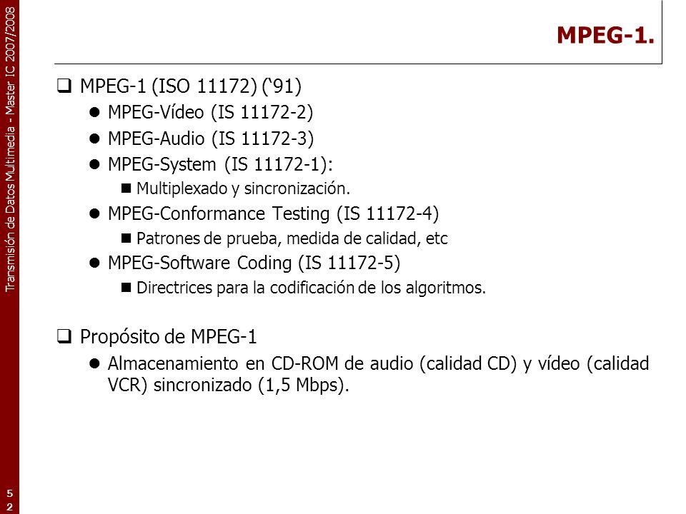 MPEG-1. MPEG-1 (ISO 11172) ('91) Propósito de MPEG-1