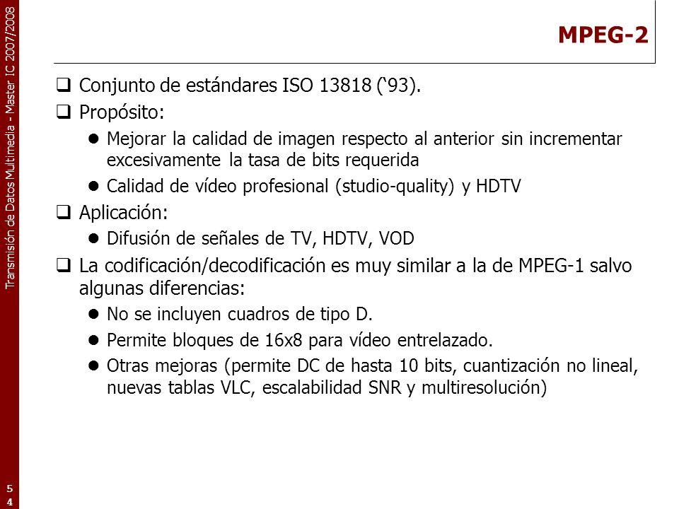 MPEG-2 Conjunto de estándares ISO 13818 ('93). Propósito: Aplicación: