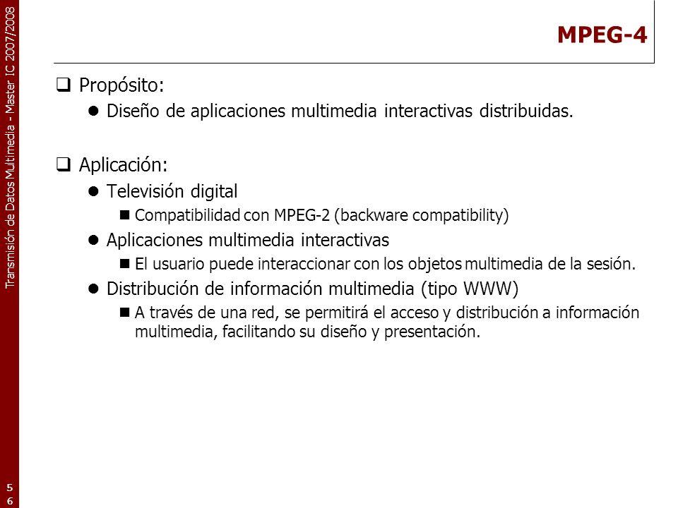 MPEG-4 Propósito: Aplicación: