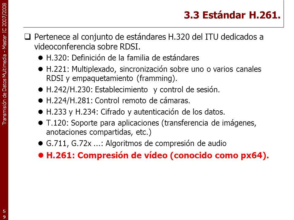 3.3 Estándar H.261. H.261: Compresión de vídeo (conocido como px64).
