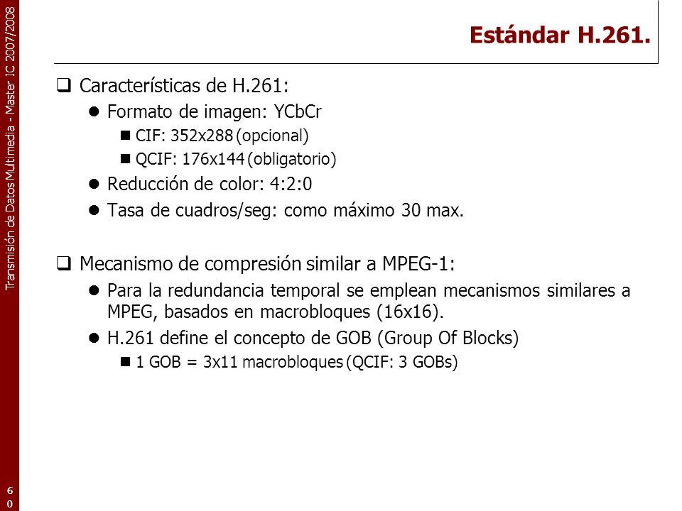 Estándar H.261. Características de H.261: