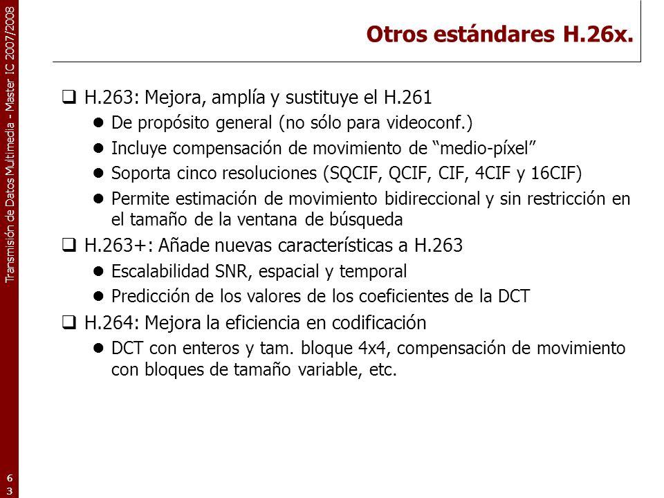 Otros estándares H.26x. H.263: Mejora, amplía y sustituye el H.261