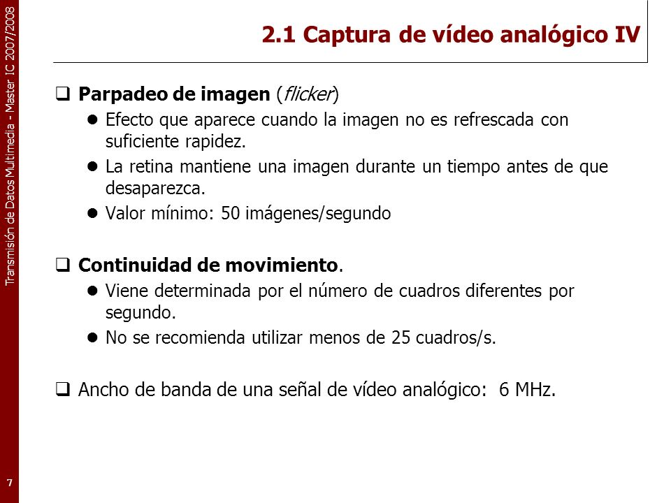 2.1 Captura de vídeo analógico IV