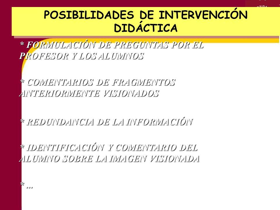 POSIBILIDADES DE INTERVENCIÓN DIDÁCTICA