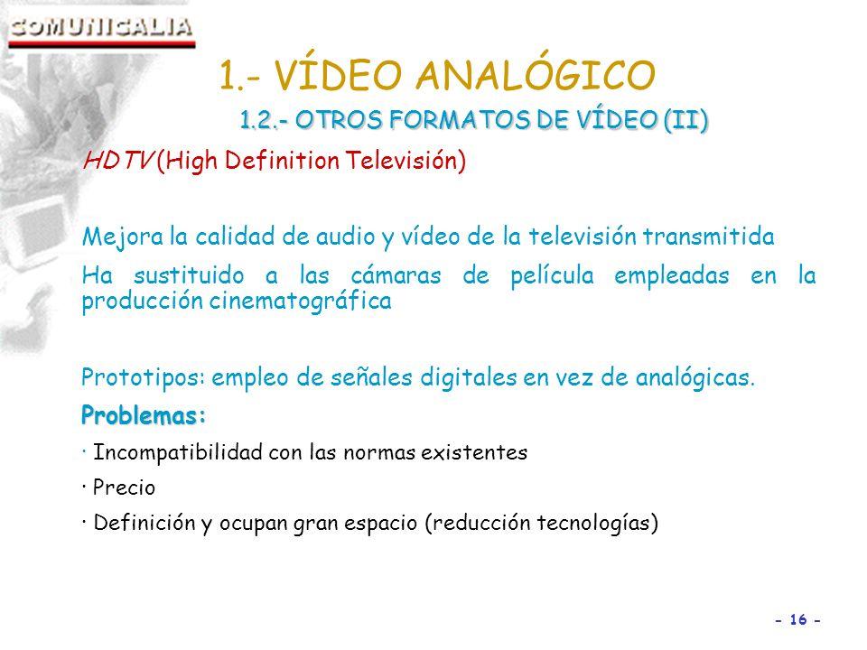 1.- VÍDEO ANALÓGICO 1.2.- OTROS FORMATOS DE VÍDEO (II)