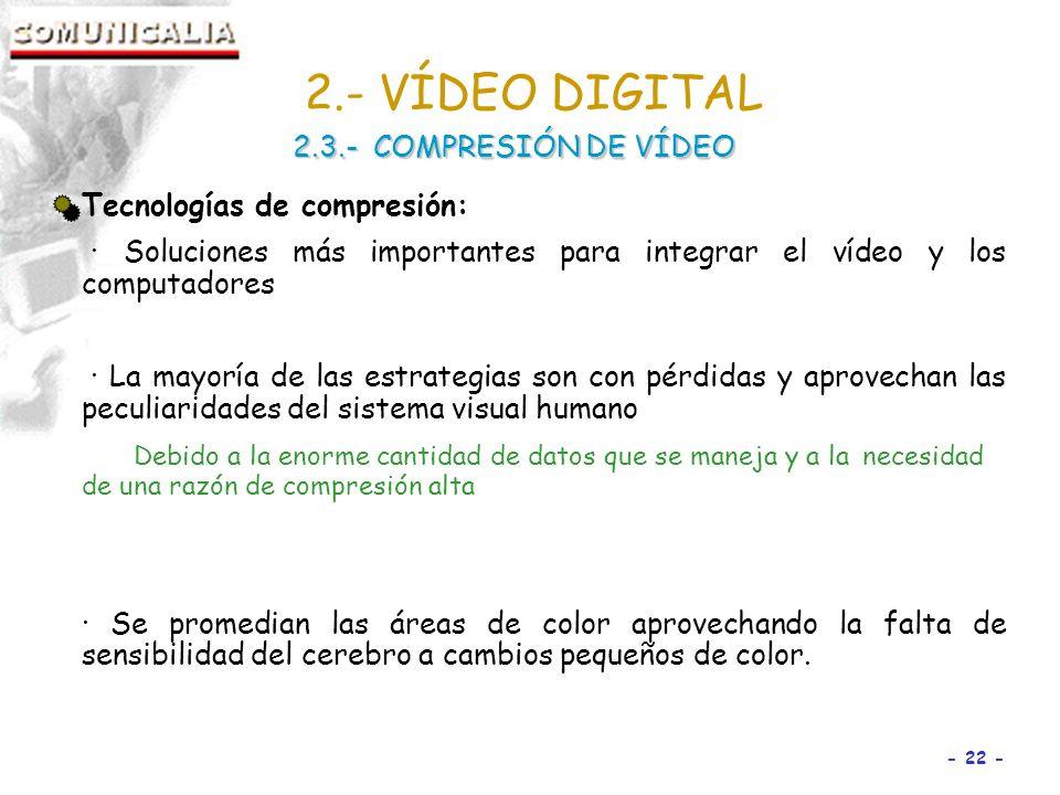 2.- VÍDEO DIGITAL 2.3.- COMPRESIÓN DE VÍDEO Tecnologías de compresión: