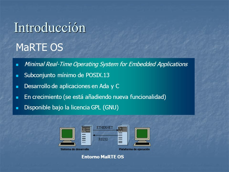 Introducción MaRTE OS. Minimal Real-Time Operating System for Embedded Applications. Subconjunto mínimo de POSIX.13.