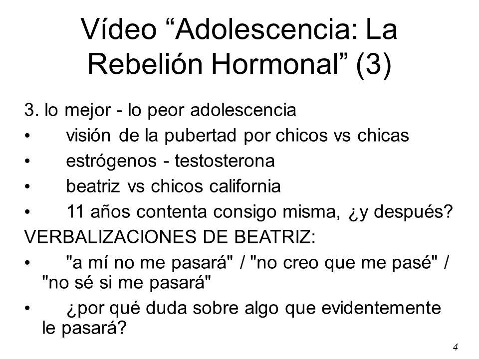 Vídeo Adolescencia: La Rebelión Hormonal (3)