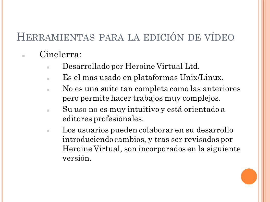 Herramientas para la edición de vídeo