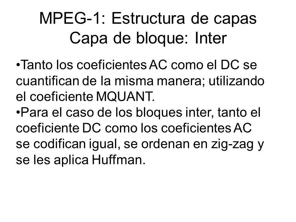 MPEG-1: Estructura de capas Capa de bloque: Inter