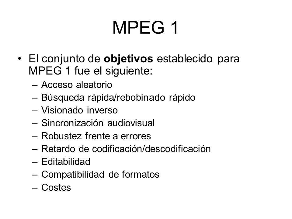 MPEG 1 El conjunto de objetivos establecido para MPEG 1 fue el siguiente: Acceso aleatorio. Búsqueda rápida/rebobinado rápido.