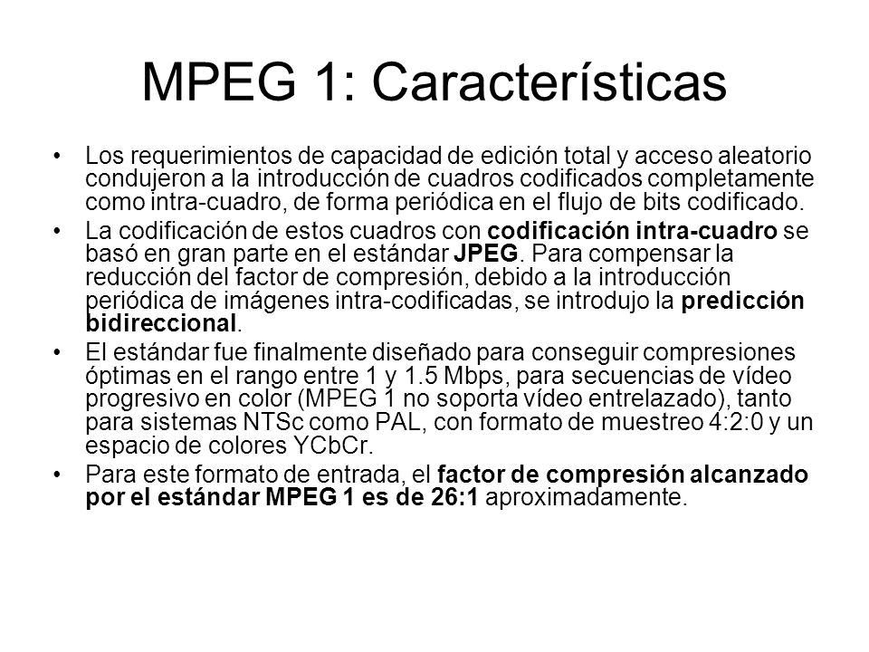 MPEG 1: Características