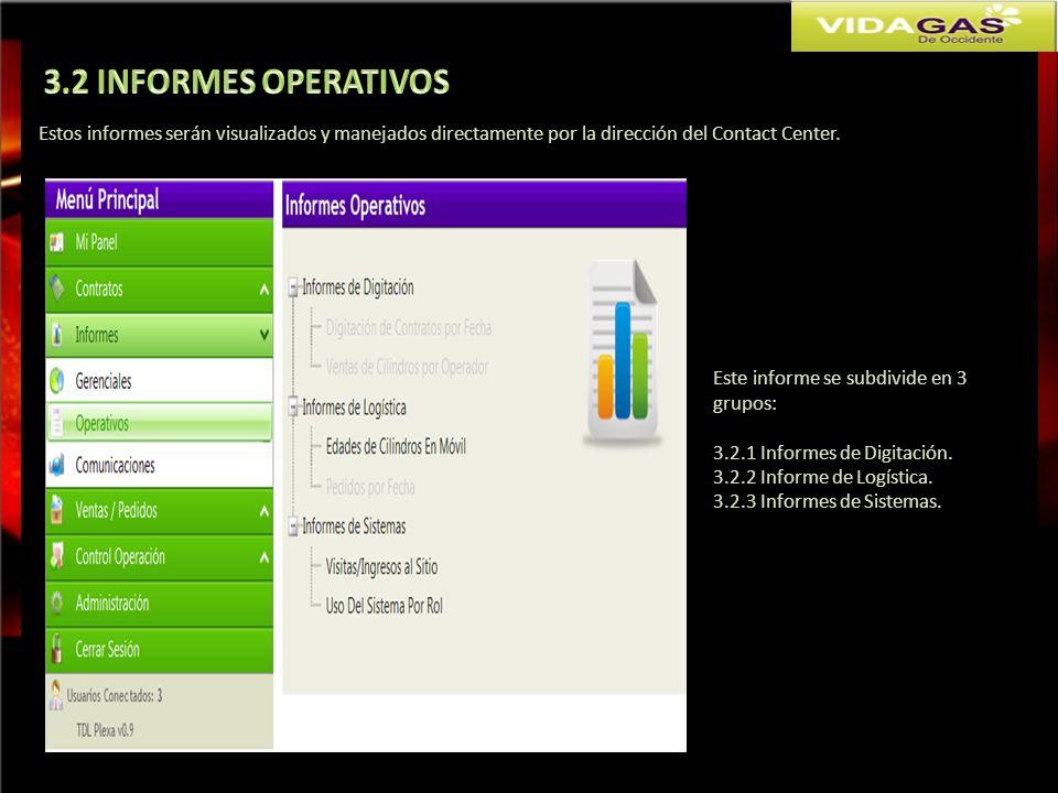 3.2 INFORMES OPERATIVOS Estos informes serán visualizados y manejados directamente por la dirección del Contact Center.