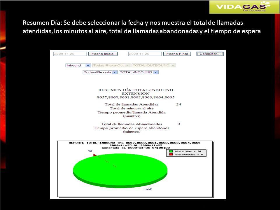Resumen Día: Se debe seleccionar la fecha y nos muestra el total de llamadas