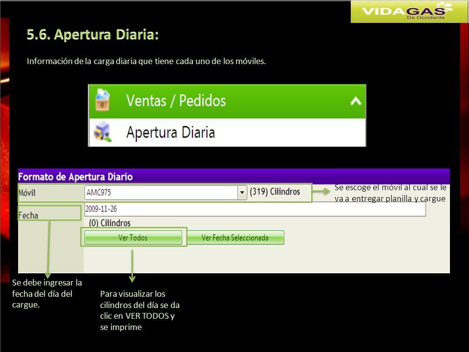5.6. Apertura Diaria: Información de la carga diaria que tiene cada uno de los móviles.