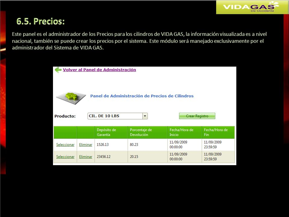 6.5. Precios: Este panel es el administrador de los Precios para los cilindros de VIDA GAS, la información visualizada es a nivel.