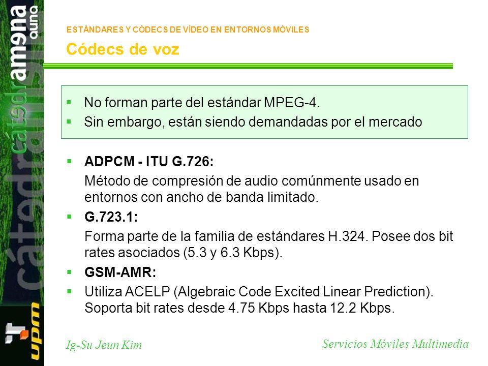 Códecs de voz No forman parte del estándar MPEG-4.