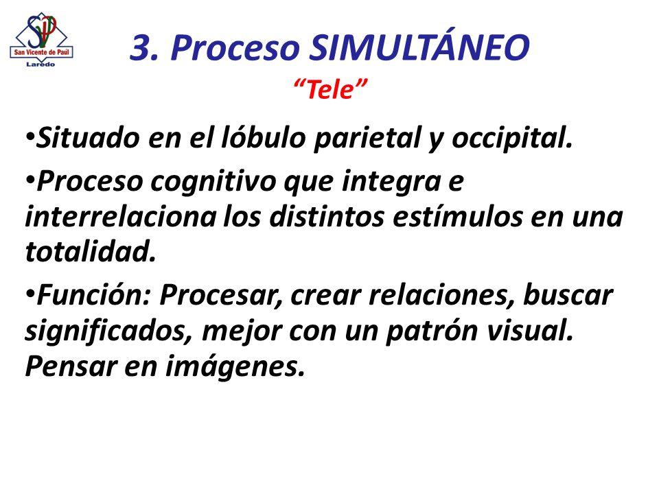 3. Proceso SIMULTÁNEO Situado en el lóbulo parietal y occipital.