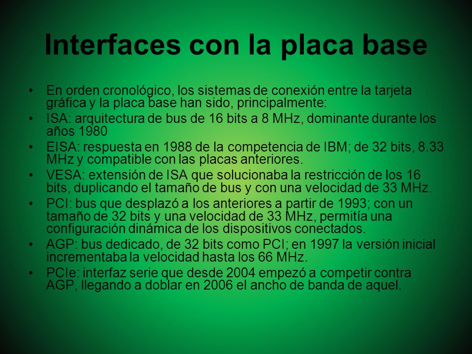 Interfaces con la placa base