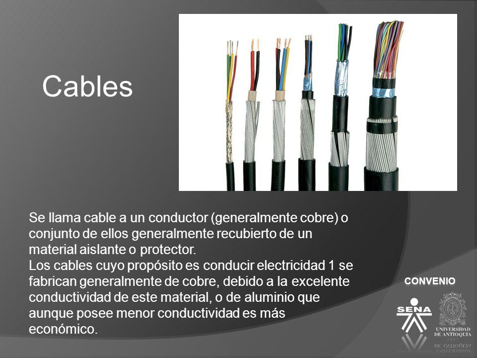 Cables Se llama cable a un conductor (generalmente cobre) o conjunto de ellos generalmente recubierto de un material aislante o protector.
