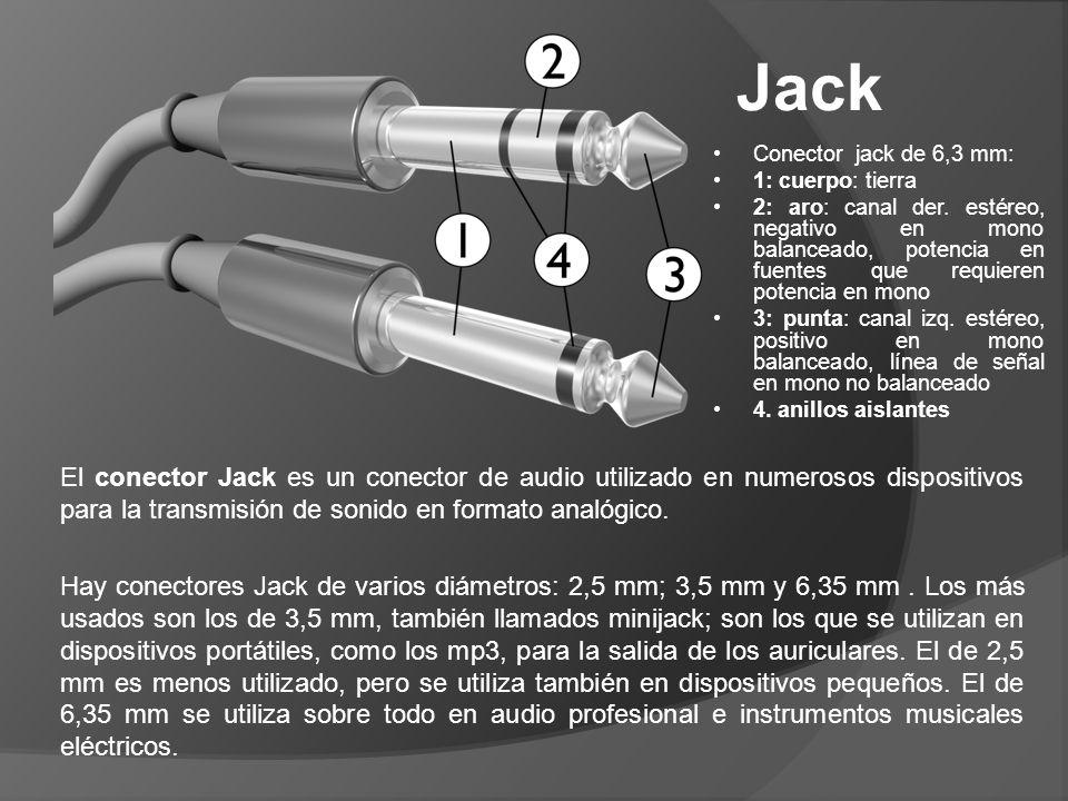 Jack Conector jack de 6,3 mm: 1: cuerpo: tierra.