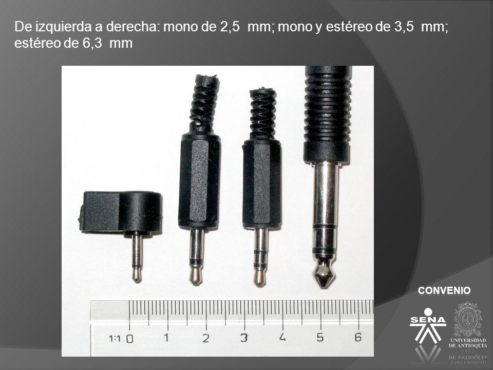 De izquierda a derecha: mono de 2,5 mm; mono y estéreo de 3,5 mm; estéreo de 6,3 mm