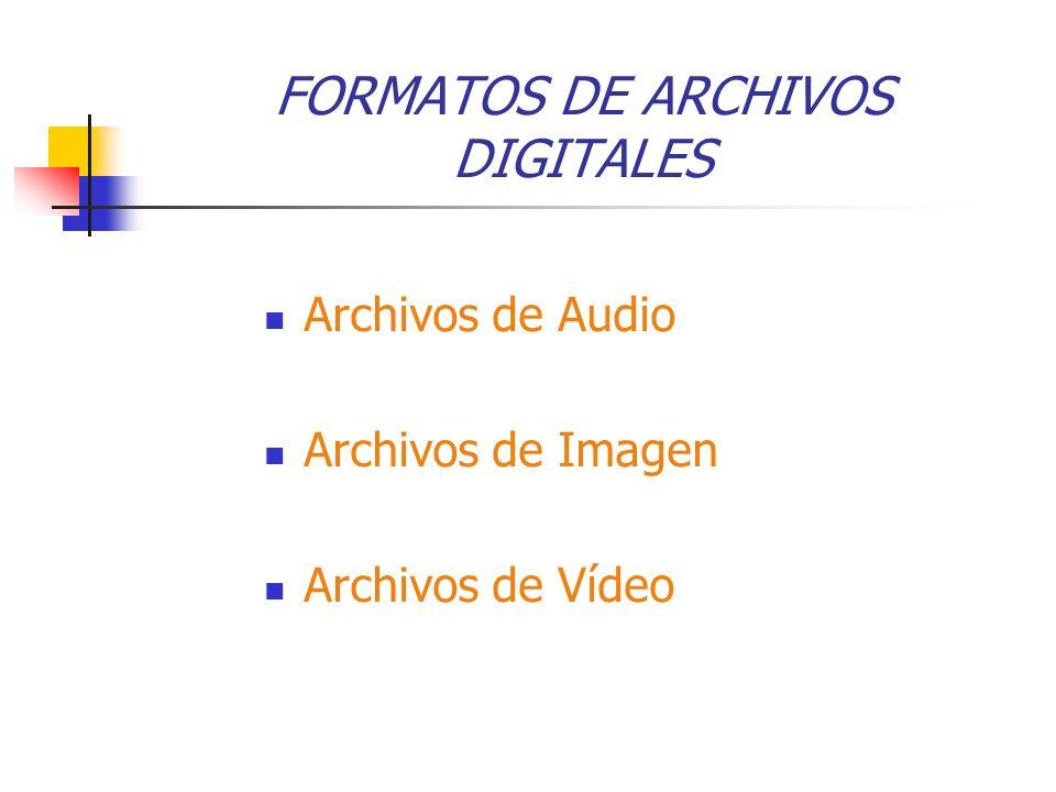FORMATOS DE ARCHIVOS DIGITALES