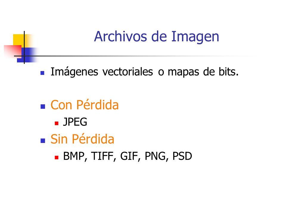 Archivos de Imagen Con Pérdida Sin Pérdida
