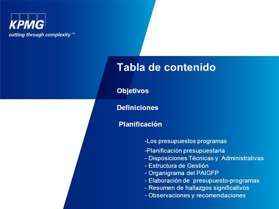 Tabla de contenido Objetivos Definiciones Planificación