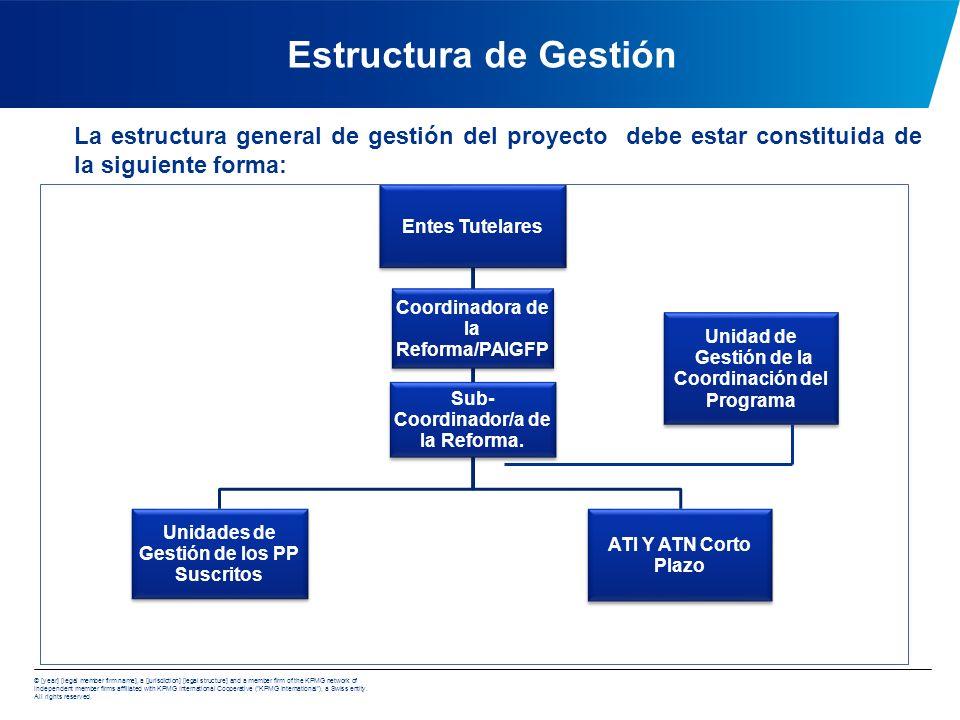 Estructura de Gestión La estructura general de gestión del proyecto debe estar constituida de la siguiente forma:
