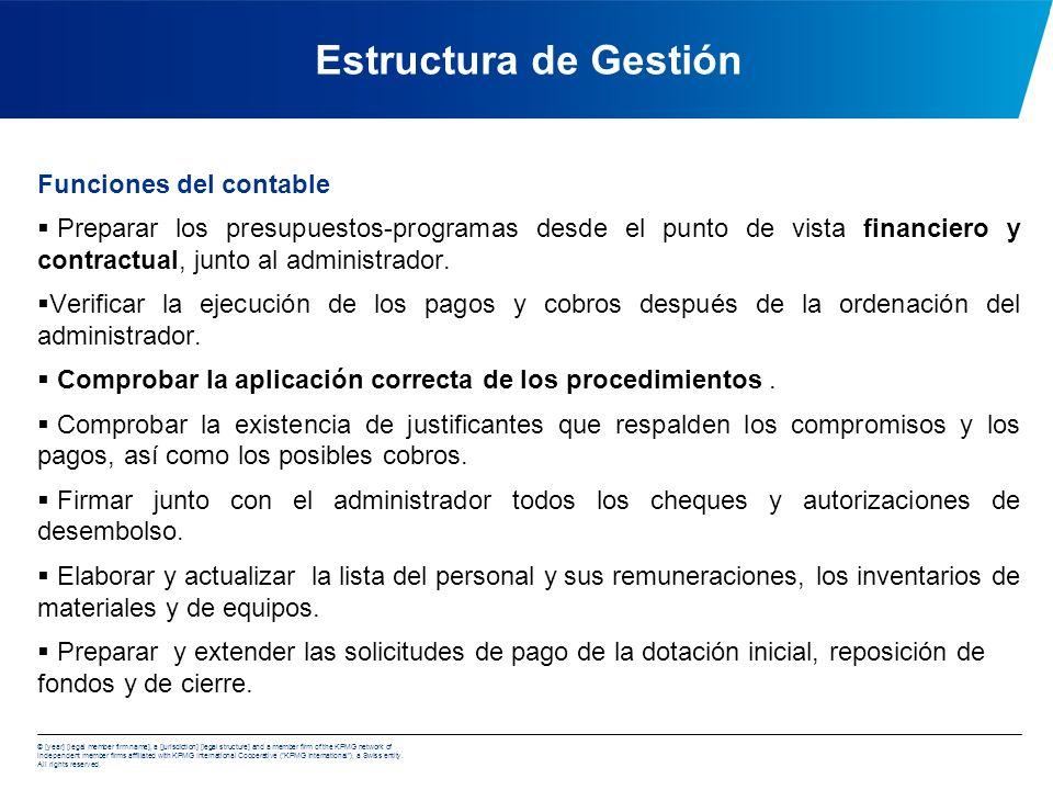 Estructura de Gestión Funciones del contable