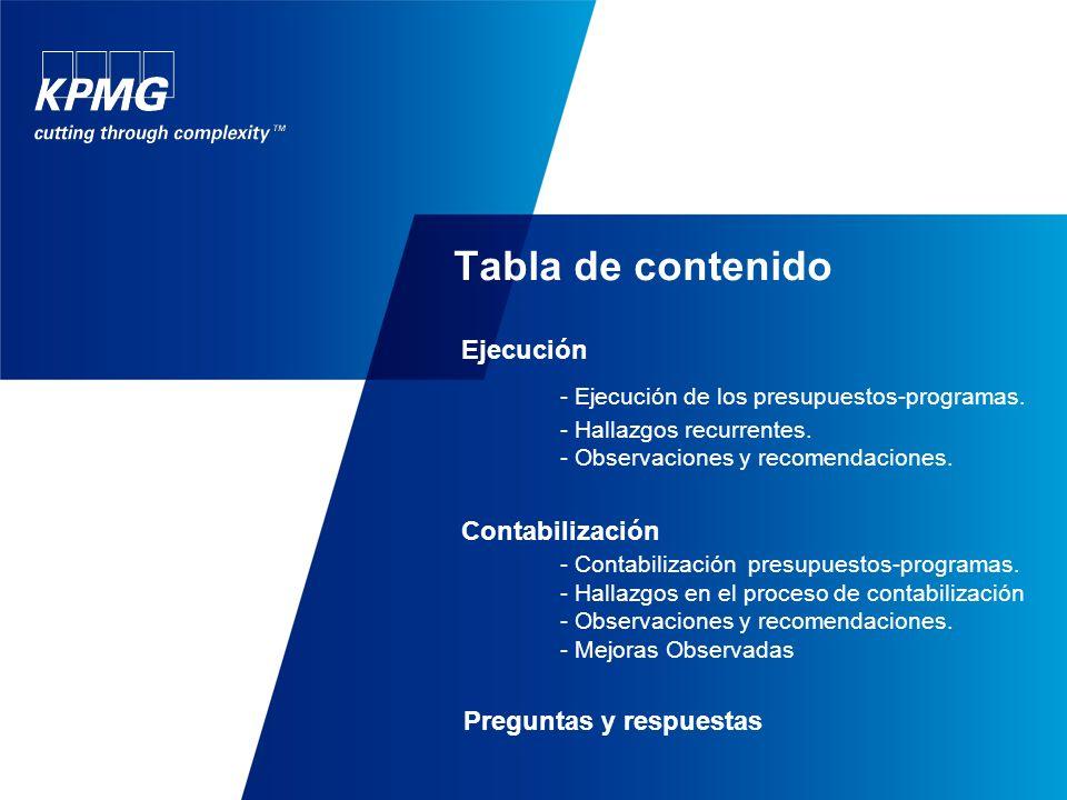Tabla de contenido Ejecución - Ejecución de los presupuestos-programas.