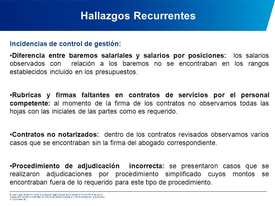 Hallazgos Recurrentes