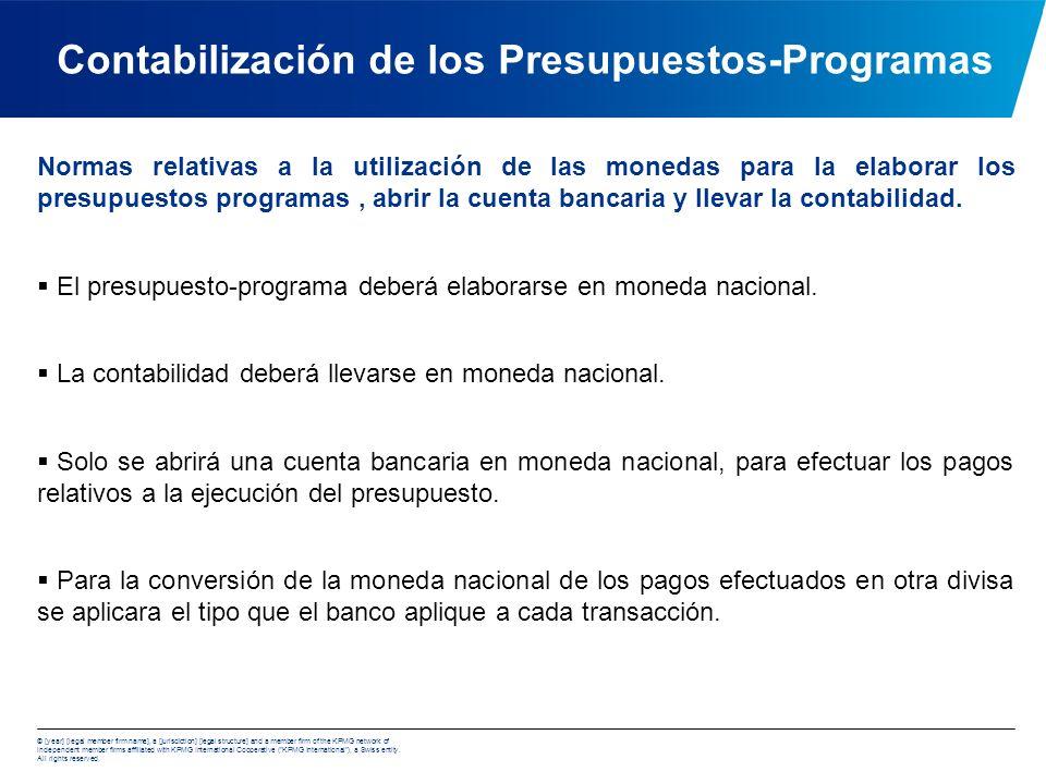 Contabilización de los Presupuestos-Programas