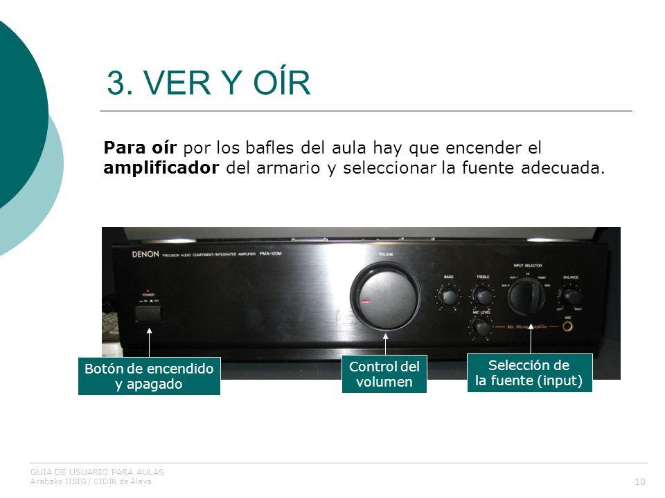 3. VER Y OÍR Para oír por los bafles del aula hay que encender el amplificador del armario y seleccionar la fuente adecuada.