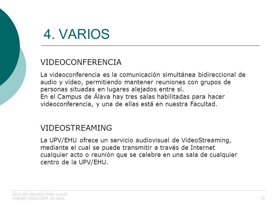 4. VARIOS VIDEOCONFERENCIA VIDEOSTREAMING