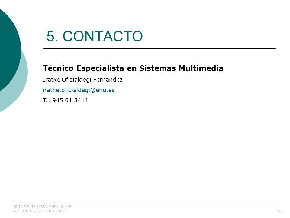 5. CONTACTO Técnico Especialista en Sistemas Multimedia