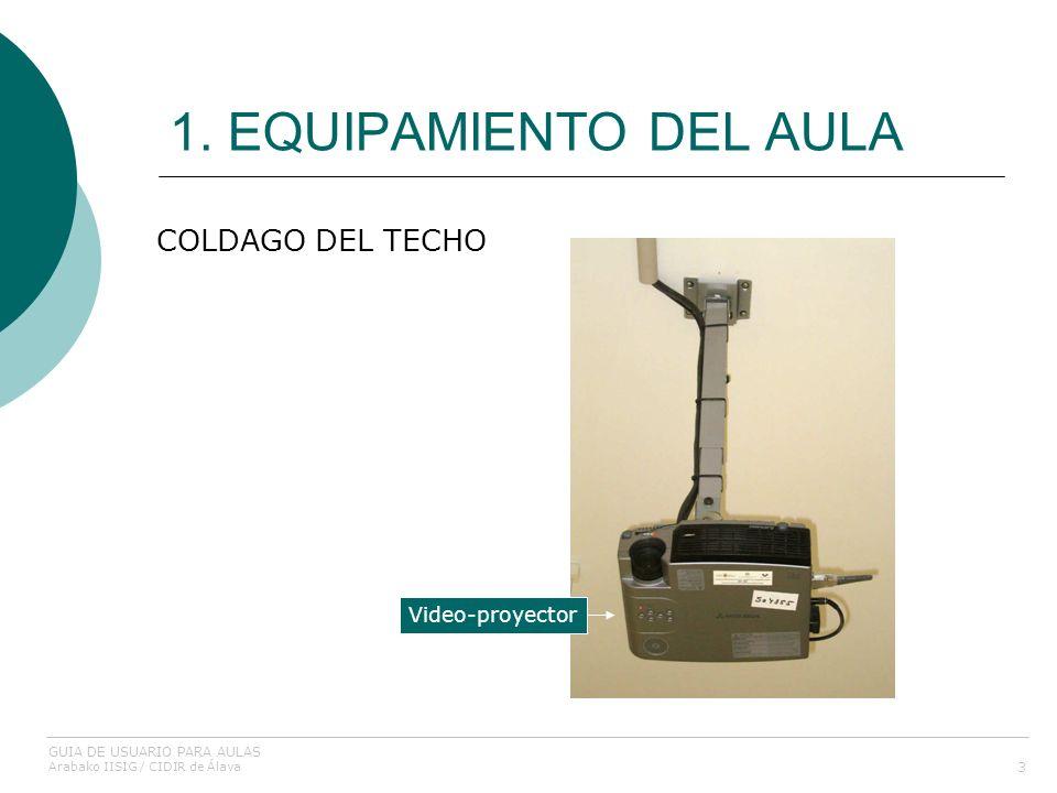 1. EQUIPAMIENTO DEL AULA COLDAGO DEL TECHO Video-proyector
